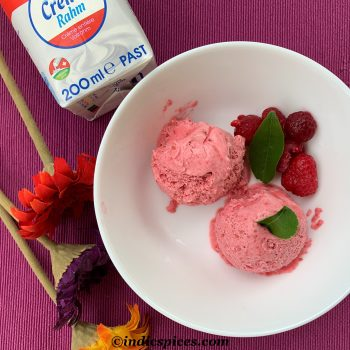 Homemade Raspberry ice cream-made with just 2 ingredients